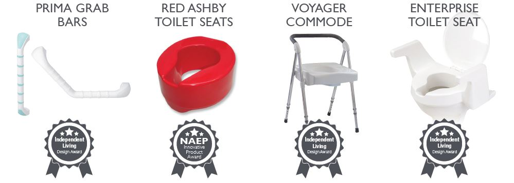 Other award winners, enterprise, prima grab bars, red ashby toilet seats for dementia care, voyager commode folds down for travel